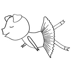 cartoon pig ballet dancer coloring vector image