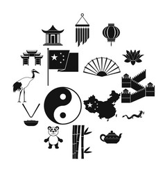china black simple icons vector image
