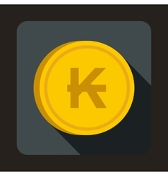 Coin Lao Kip icon flat style vector