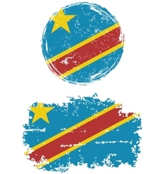 Congolese round and square grunge flags vector image
