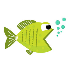 Cute cartoon fish with blowing bubbles vector