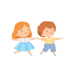 cute happy boy and girl holding hands couple of vector image