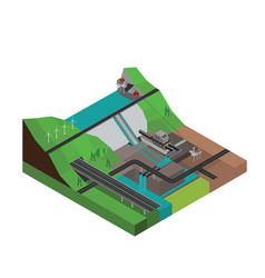 Dam hydroelectricity power station isometric vector