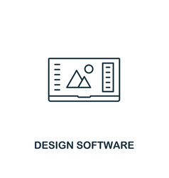 design software icon thin outline style from vector image