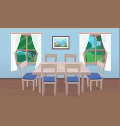 Dining room interior with table and windows vector