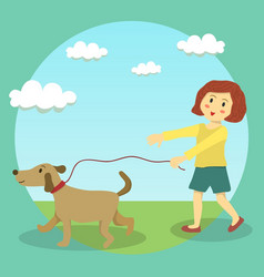 Dog walking girl kid vector