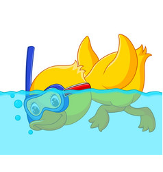 Duck snorkeling cartoon vector