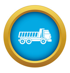 Dumper truck icon blue isolated vector