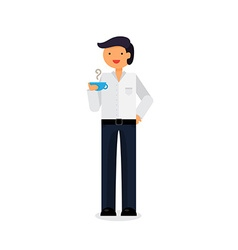 Employee with coffee vector