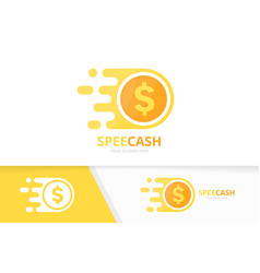 Fast coin logo combination speed money vector