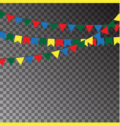 Festive flags isolated on transparent background vector
