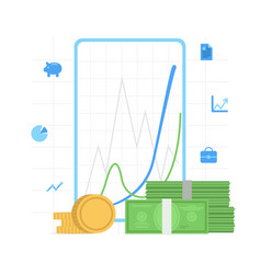 finance analitics business diagram graph chart vector image