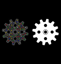Flare mesh network cogwheel icon with flare spots vector