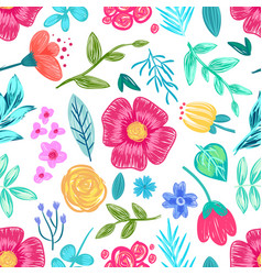 Flower and leaves drawn in pencil seamless pattern vector