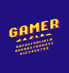 Gamer font 3d stylized pixel style alphabet vector