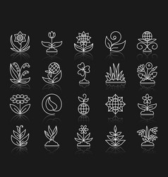 garden simple white line icons set vector image