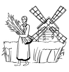 Girl mill and rye vector
