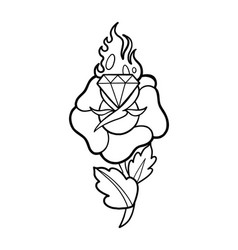 Graphic flower and flaming gem vector