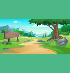 graphic tree and hill vector image