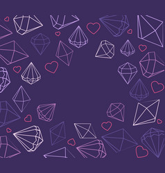 greeting card with jewels hearts vector image