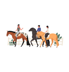 Group young people riding horse at racecourse vector
