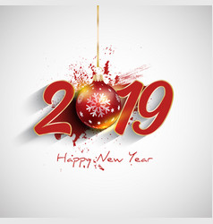 grunge happy new year bauble background vector image