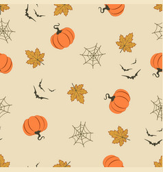 halloween pattern with pumpkins vector image