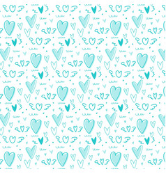 hand drawn cute heart pattern background vector image