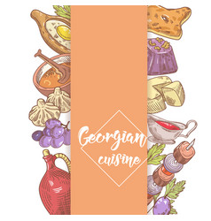 Hand drawn georgian food menu design cuisine vector