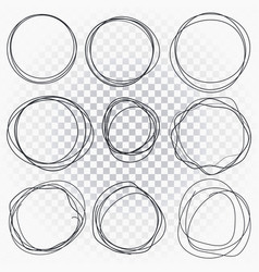 hand drawn line sketched circles set scribble vector image
