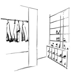 Hand drawn wardrobe sketch clothes of the hanger vector