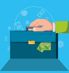 hand with portfolio and set icons economy finance vector image