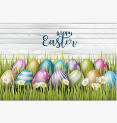 Happy easter background with painted 3d realistic vector