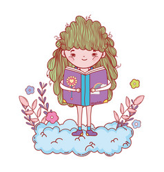 Happy little girl reading book in the clouds vector