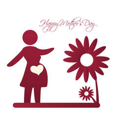 Happy mothers day card silhouette mom pregnancy vector