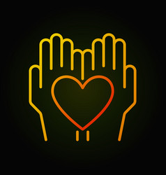 heart in hands bright thin line icon vector image