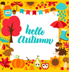 Hello autumn paper concept vector