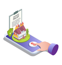 home insurance online flat isometric vector image