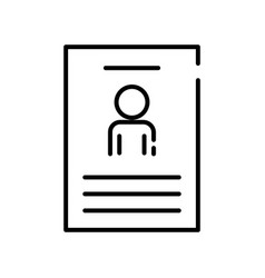 Human figure avatar in cv document line style icon vector
