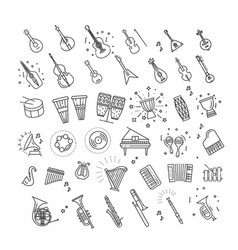 icons music classic instruments vector image