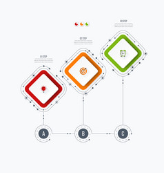 Infographics template 3 options with square vector