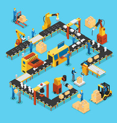 Isometric automated production line concept vector