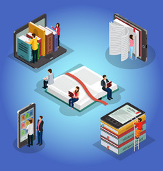 Isometric books reading composition vector