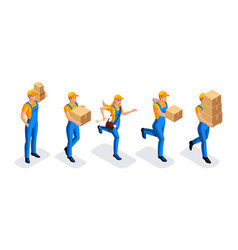 Isometric warehouse workers delivery service vector