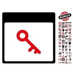 Key Calendar Page Flat Icon With Bonus vector image