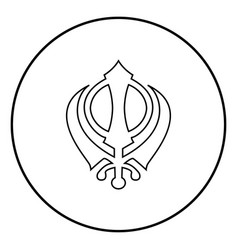 Khanda symbol sikhi sign icon black color simple vector