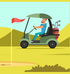 man driving electric car at golf court vector image