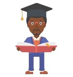 Man in graduation cap holding book vector image