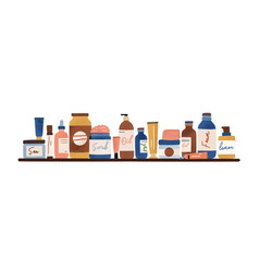 Natural organic cosmetic standing on shelf vector