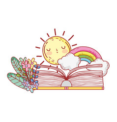 Open book rainbow clouds sun flowers foliage vector